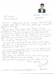 Hardik Thakkar's Handwritten feedback